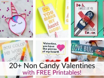 Non Candy Valentines with FREE Printables