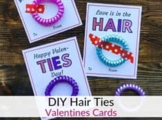 Printable girls Valentine cards with Hair Ties!
