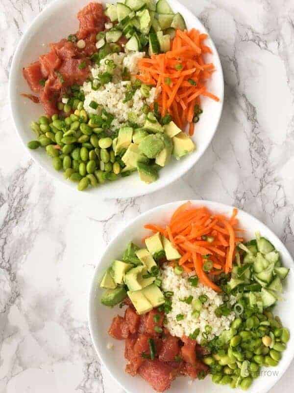 Sushi Bowls with Cauliflower Rice