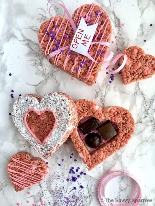 Valentines Rice Krispie Treats hearts boxes