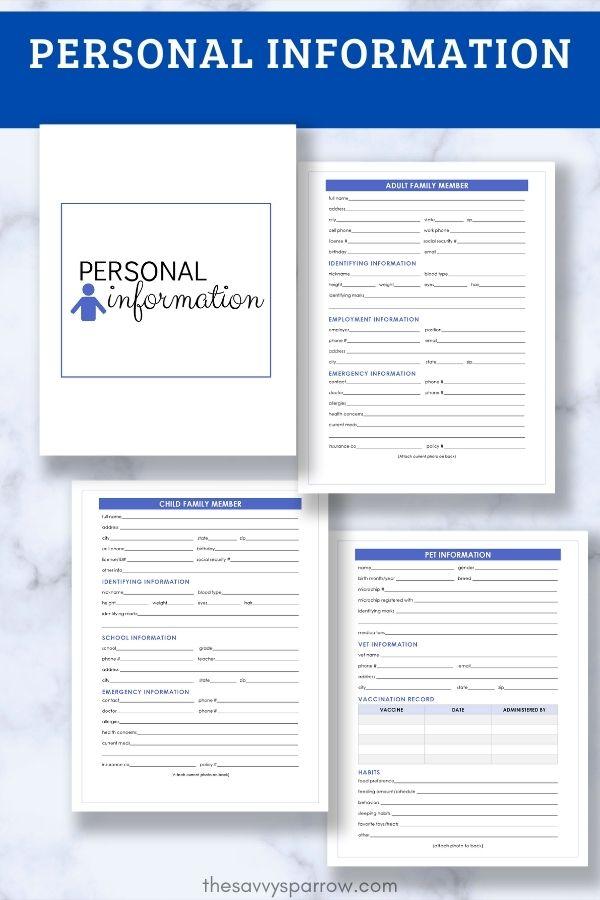 personal information worksheets for emergency binder