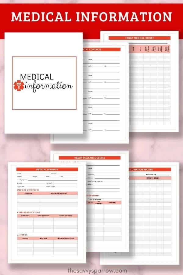 medical information worksheets for emergency binder