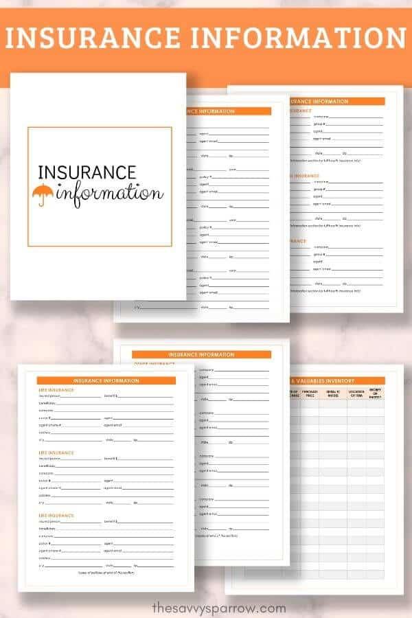 insurance information PDF worksheets for emergency binder