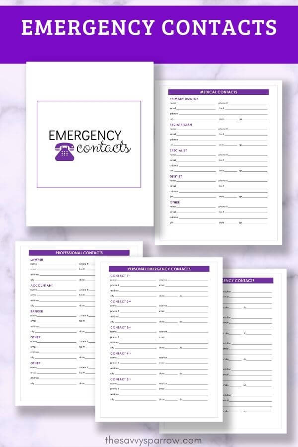 emergency contacts printable templates