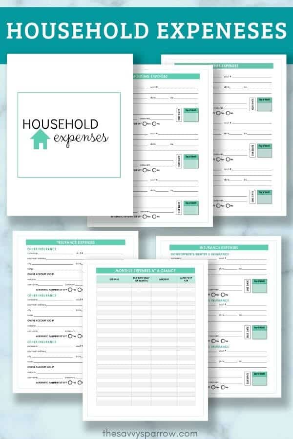 household expenses PDF worksheets for emergency binder PDF