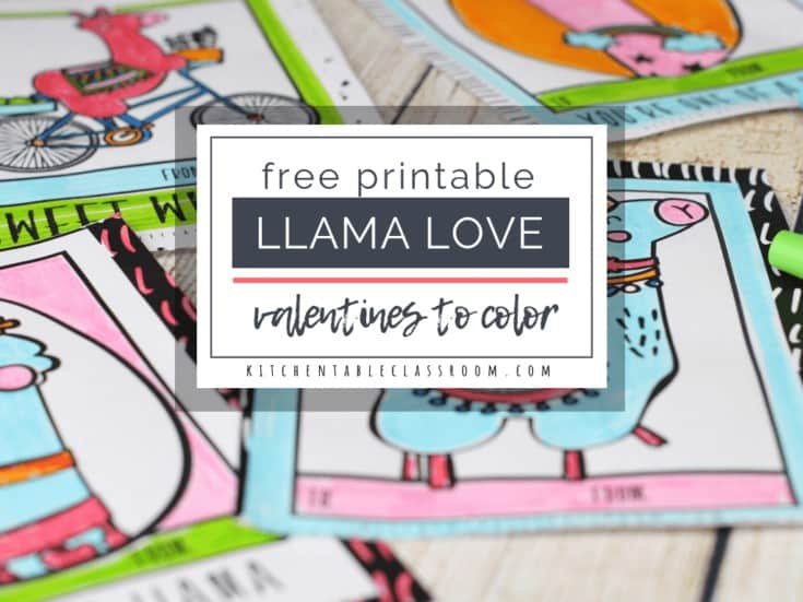 Llama Valentines- Free Printable Valentines Cards to Color