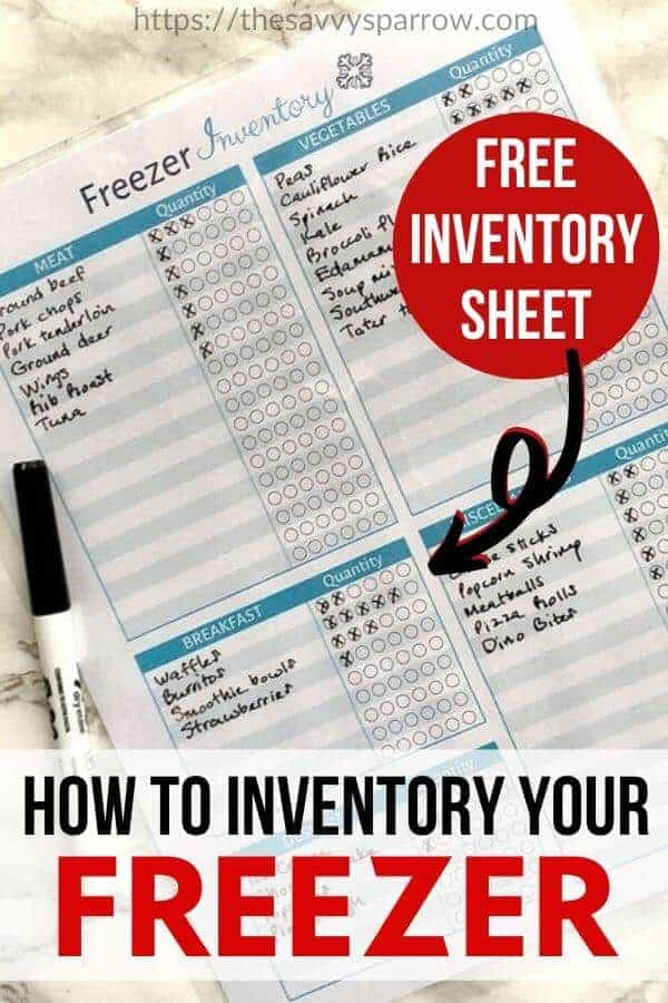 "freezer inventory sheet with text overlay that says ""how to inventory your freezer"""