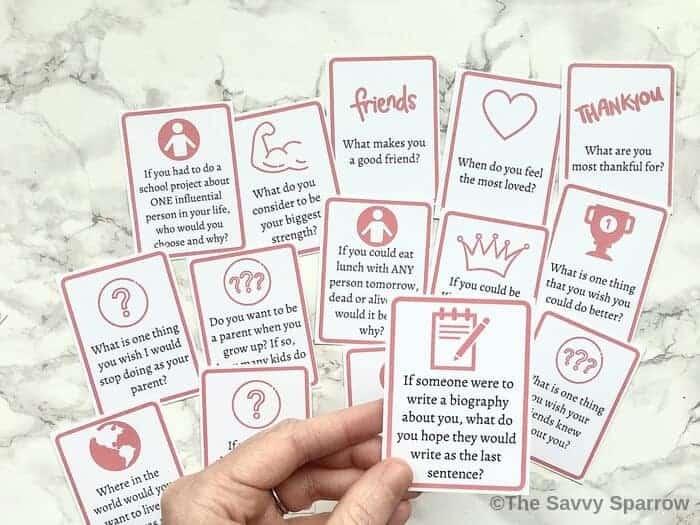 Printable conversation starter cards for kids
