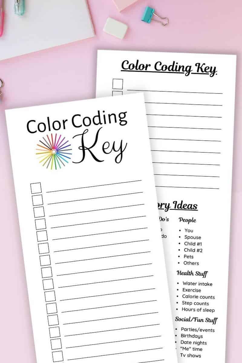 printable color coding keys for planners