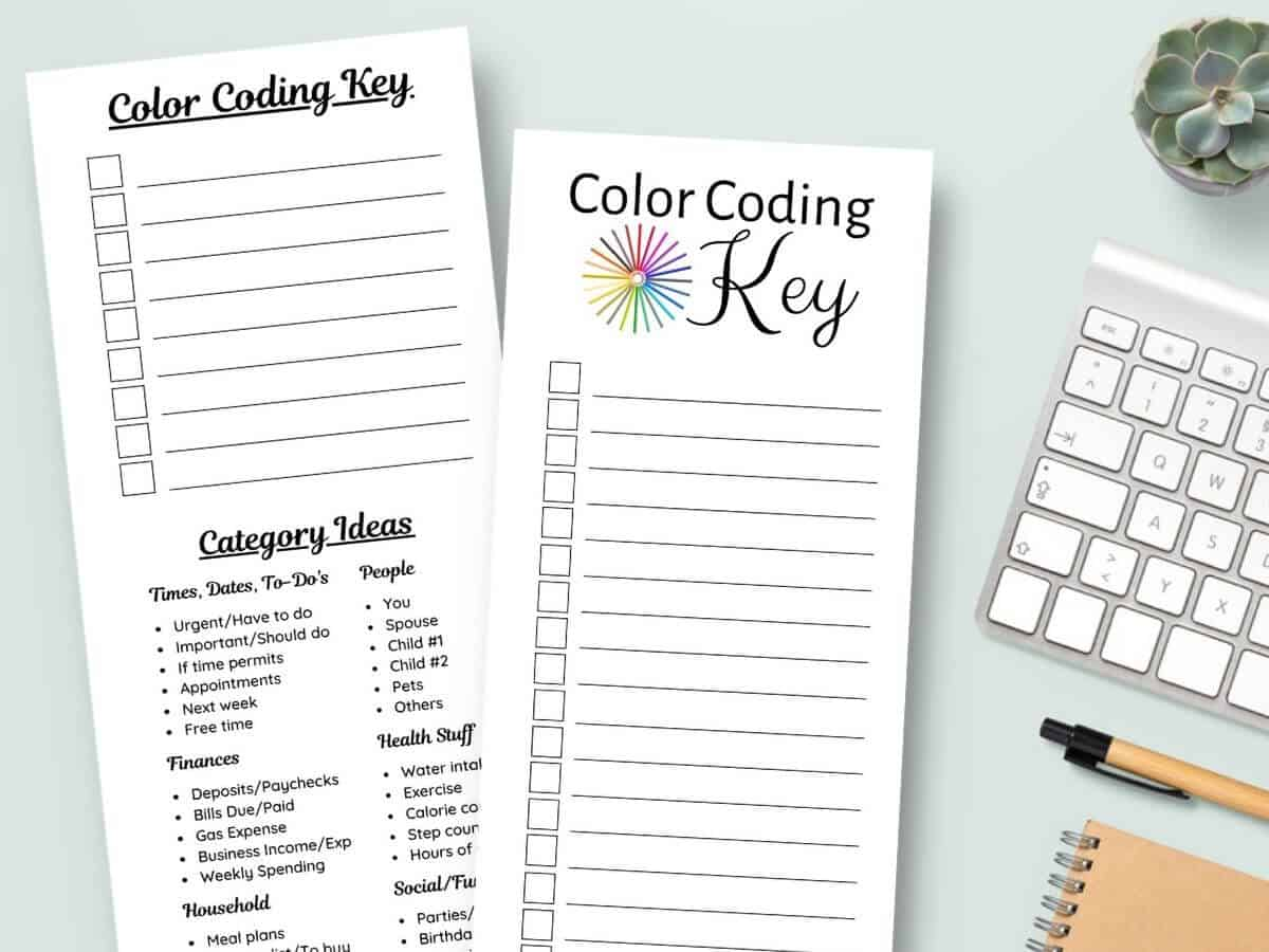 printable color coding key sheets to use for color coding a planner