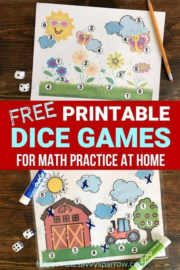 Printable Dice Games for Kids!