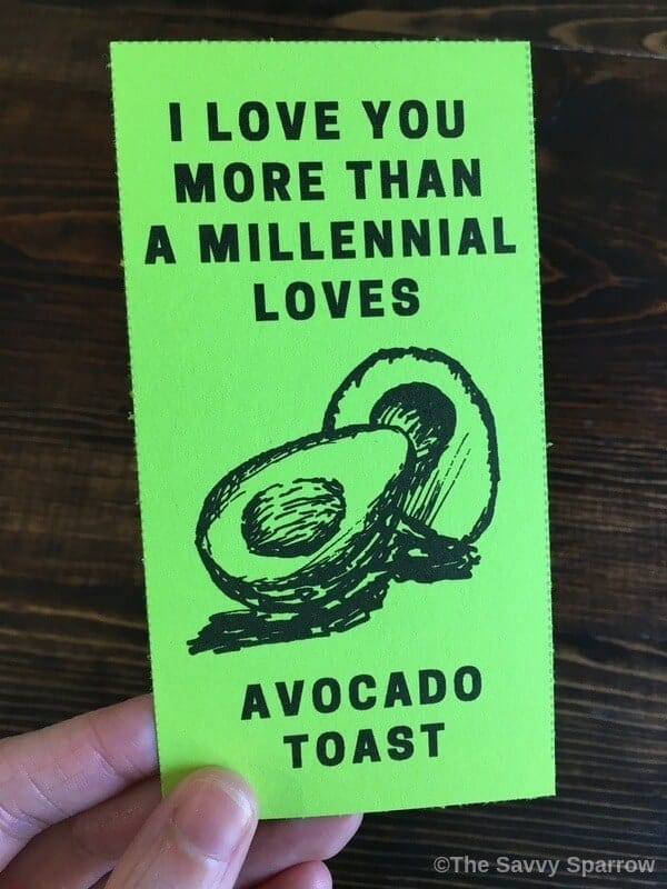 love note that says I love you more than a millennial loves avocado toast