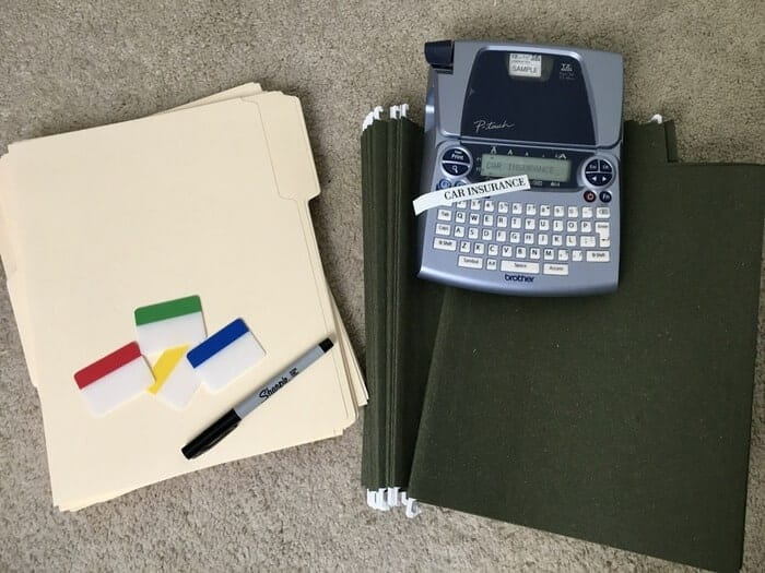 Supplies to organize paperwork