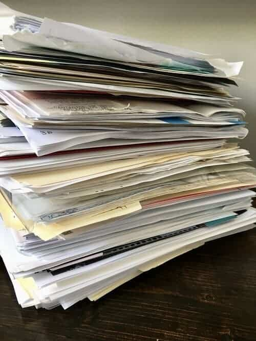 Organize paperwork by gathering all important papers.