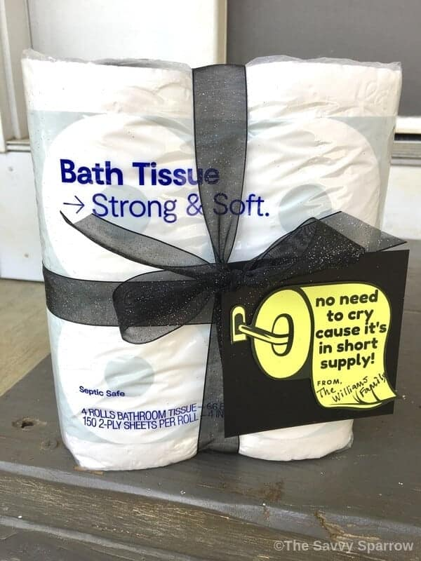 Toilet paper gift with 4 rolls of TP and gift tag