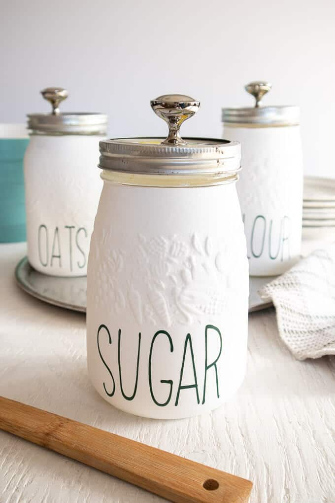 DIY Kitchen canisters chalk painted mason jars with Cricut labels