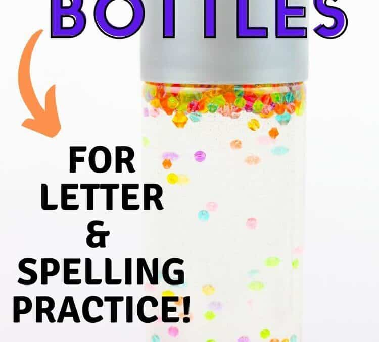 picture of DIY Sensory Bottles for kids with colorful alphabet beads