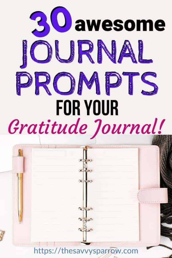 "flat lay of open pink journal with the words ""30 awesome journal prompts for your gratitude journal"""