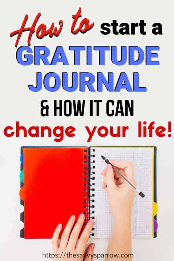 "lady's hands writing in a red and black journal with the words ""How to start a gratitude journal and how it can change your life"""