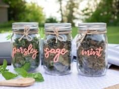 spice jars with labels that say parsley, sage, mint