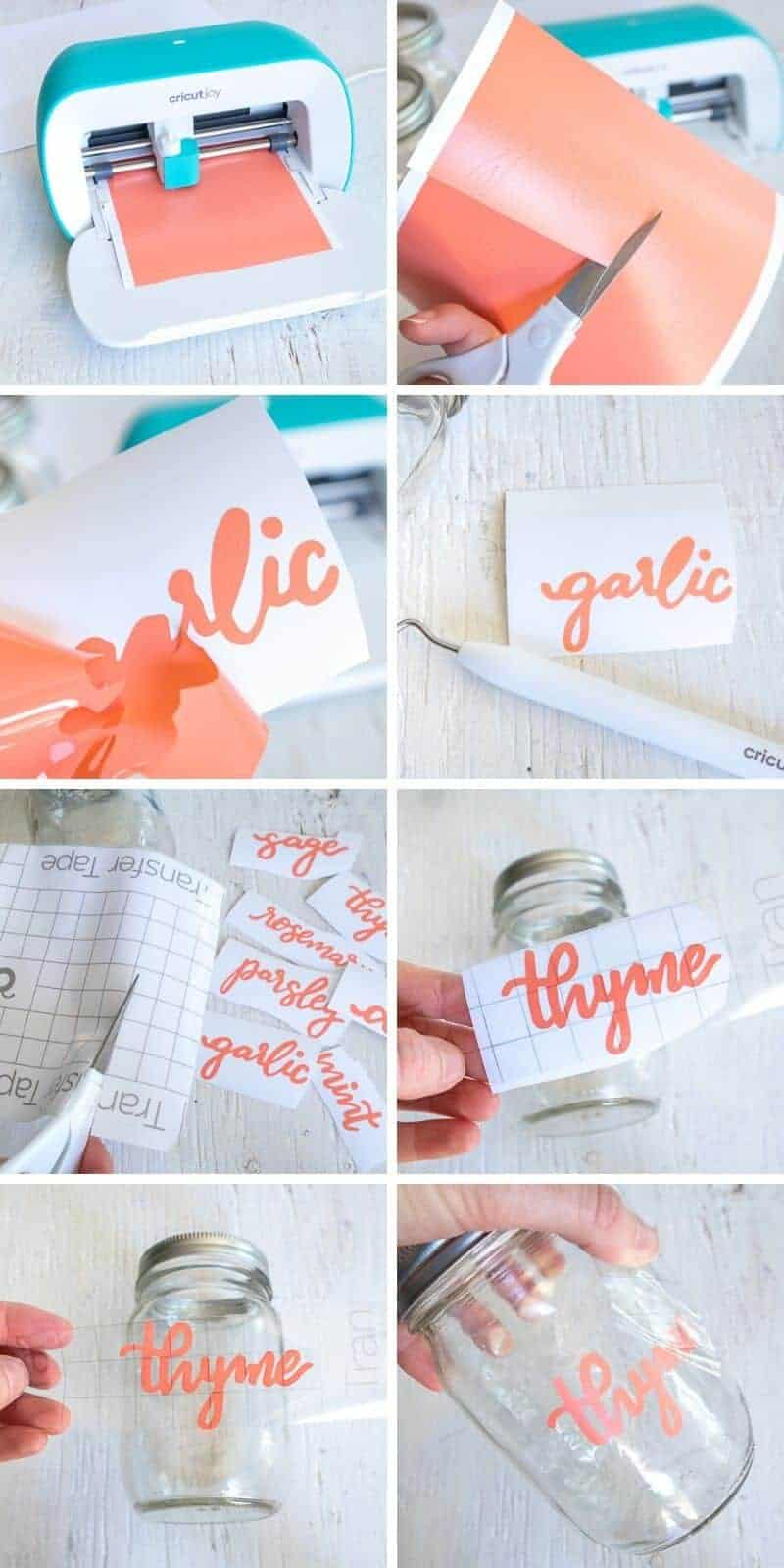 collage showing steps to cut and weed spice jar labels with Cricut Joy machine