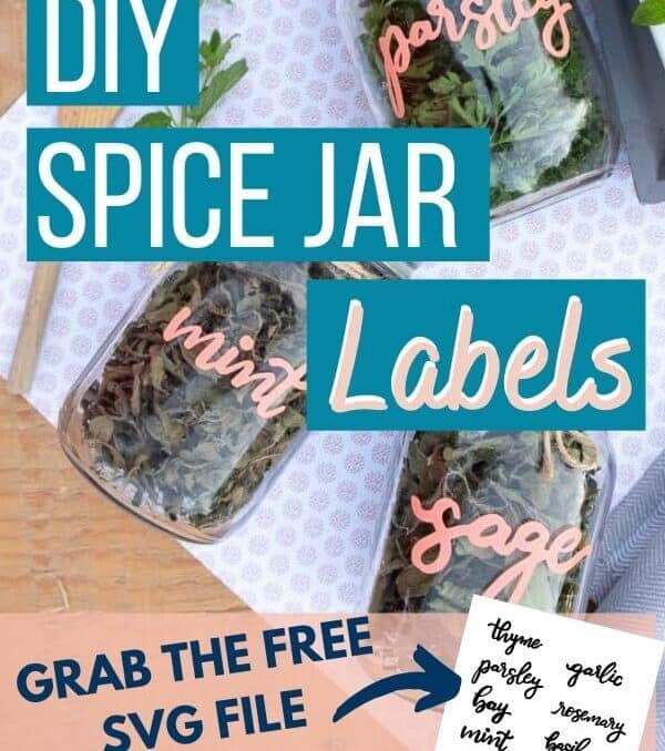 "DIY spice jars for mint, sage, and parsley with text ovleray ""DIY Spice Jar Labels"""