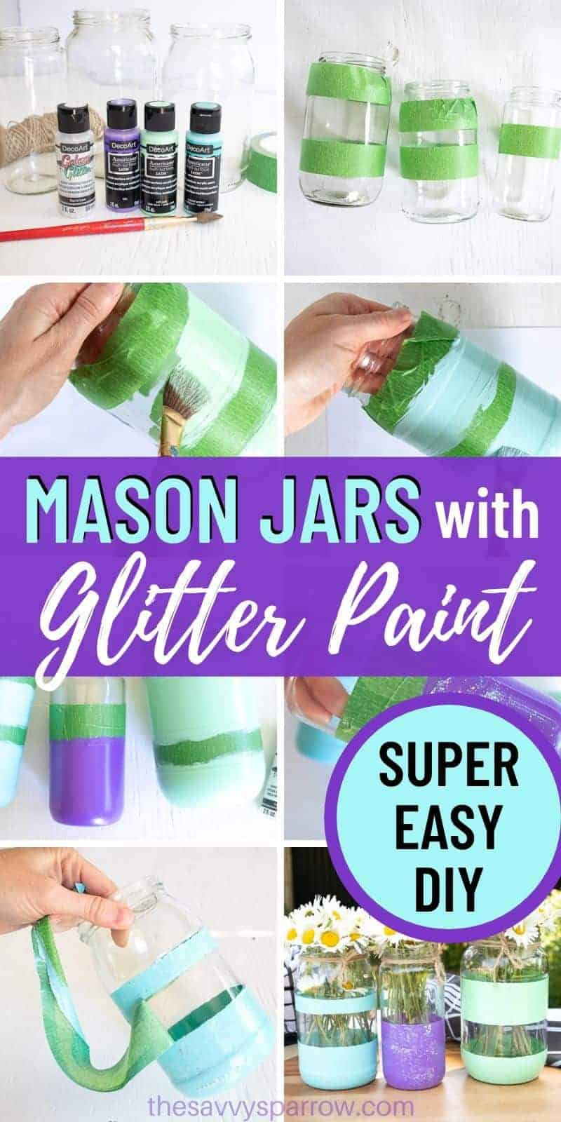 collage showing steps for how to make DIY painted mason jars with stripes
