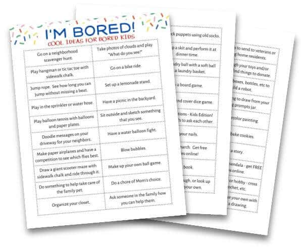 image of printable list of ideas for bored kids