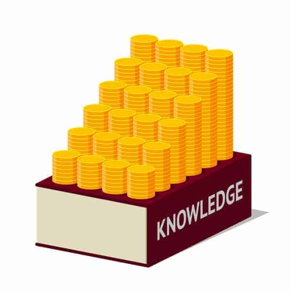 illustration of stacks of coins on top of a book that says knowledge