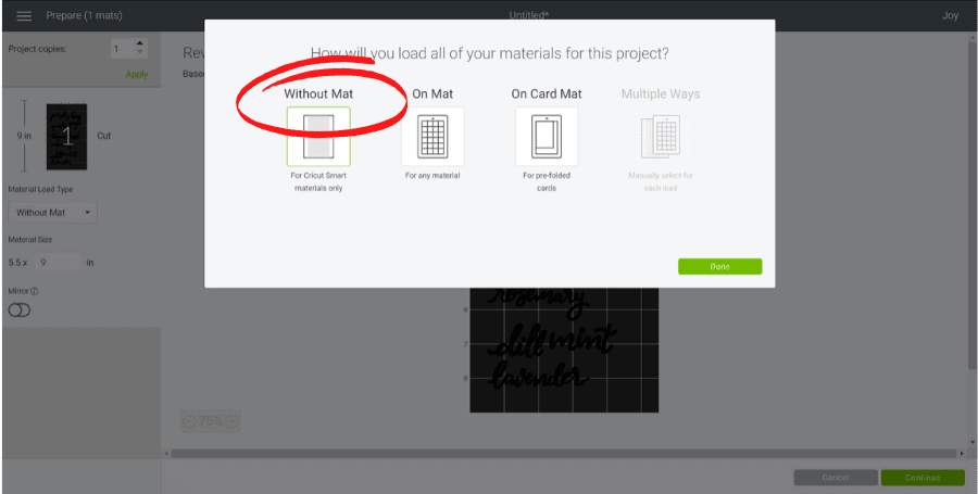 "screenshot in cricut design space showing ""without mat"" selected"