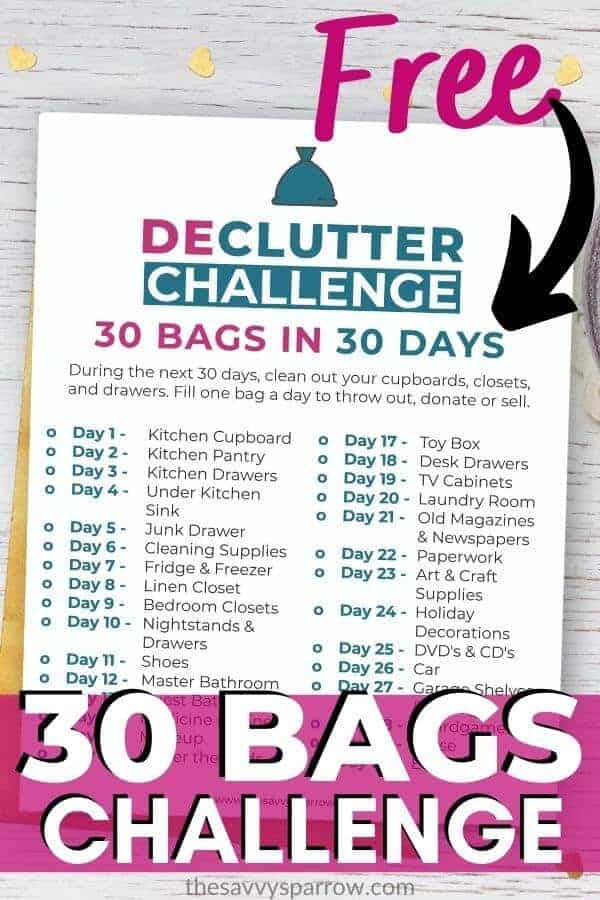 graphic of printable decluttering checklist that says free 30 bags challenge
