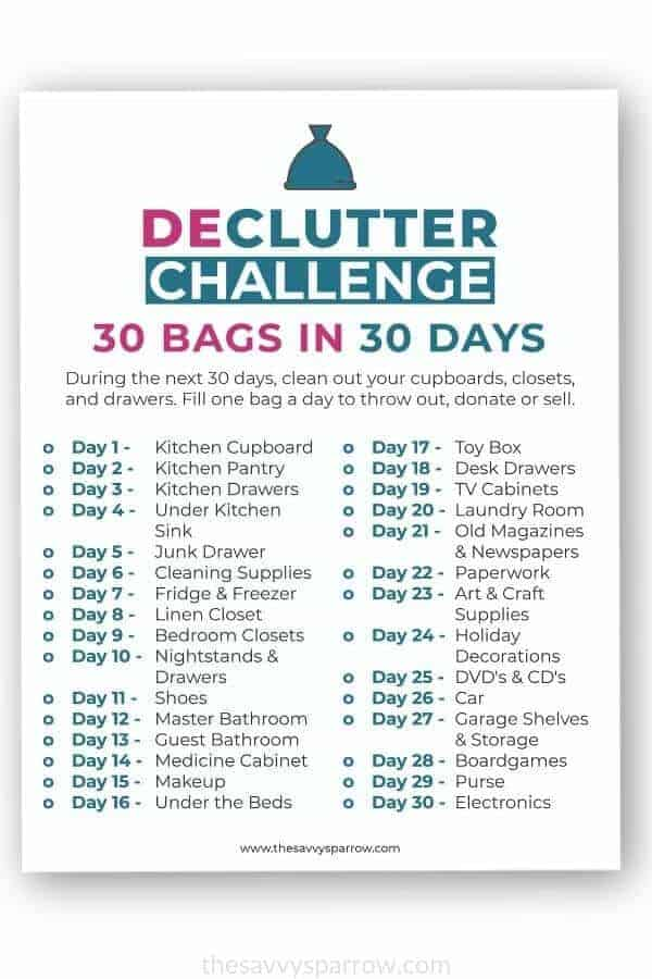 image of printable 30 bags in 30 days decluttering challenge