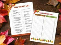 fall bucket list printables on wood and leaf background