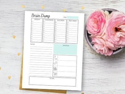 printable brain dump template on table with flowers