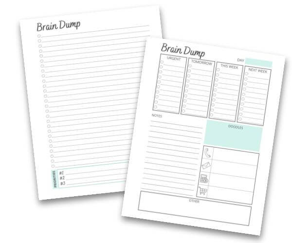 image of free printable brain dump worksheets