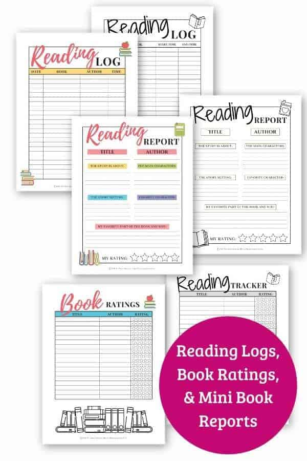 promotional graphic showing printable reading challenges for kids available for purchase