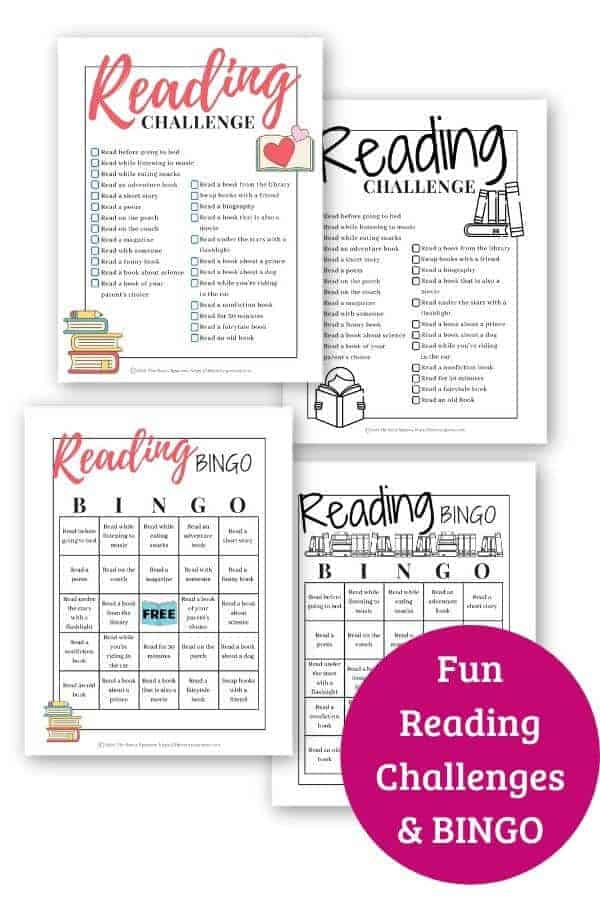 promotional graphic showing printable reading challenges for kids
