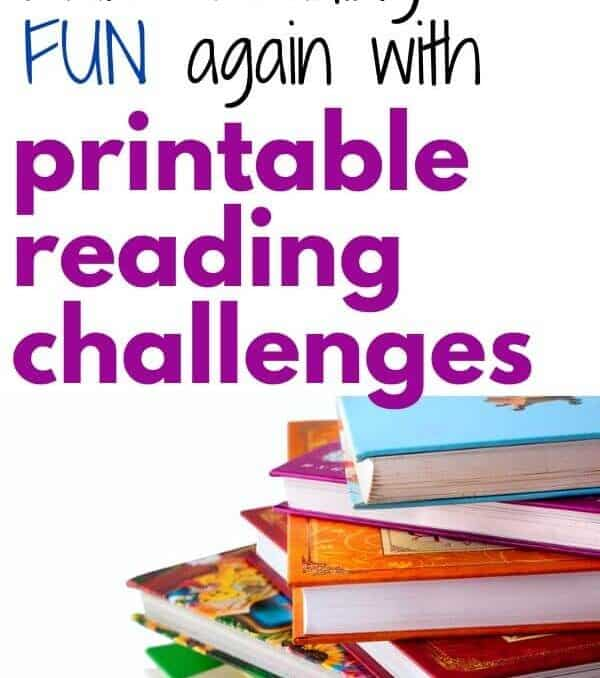 stack of books and text that says make reading fun with printable reading challenges
