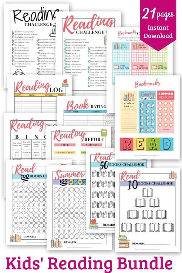Printable reading challenges for kids product image