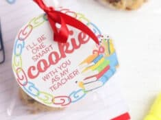 teacher cookie gifts packaged in clear bags with gift tags