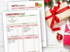 christmas budget worksheets on table with christmas gift