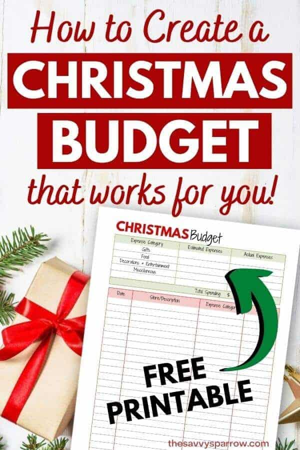 Christmas budget free printable with text that says how to create a Christmas Budget that works for you