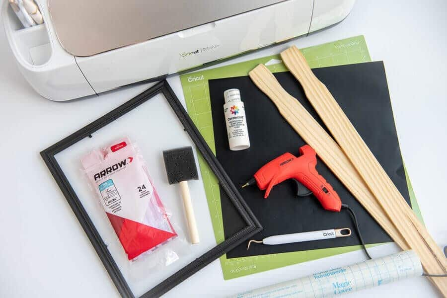 supplies for DIY fall Sign on a table
