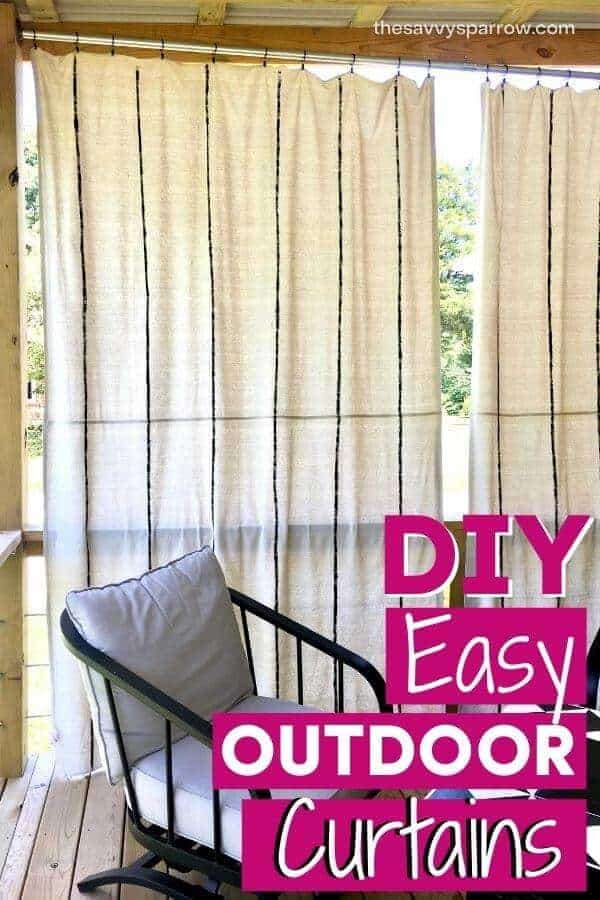 finished drop cloth curtains hanging on deck