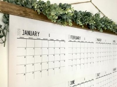 close up view of giant wall calendar