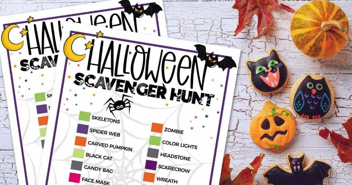 halloween painted rocks on table with halloween scavenger hunt printable