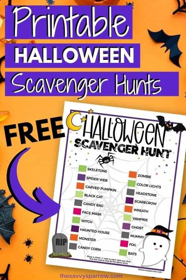 image of halloween scavenger hunt printable