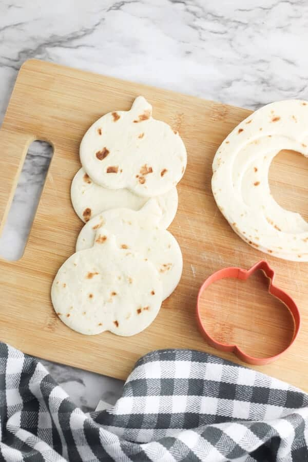 pumpkin shapes cut out of tortillas