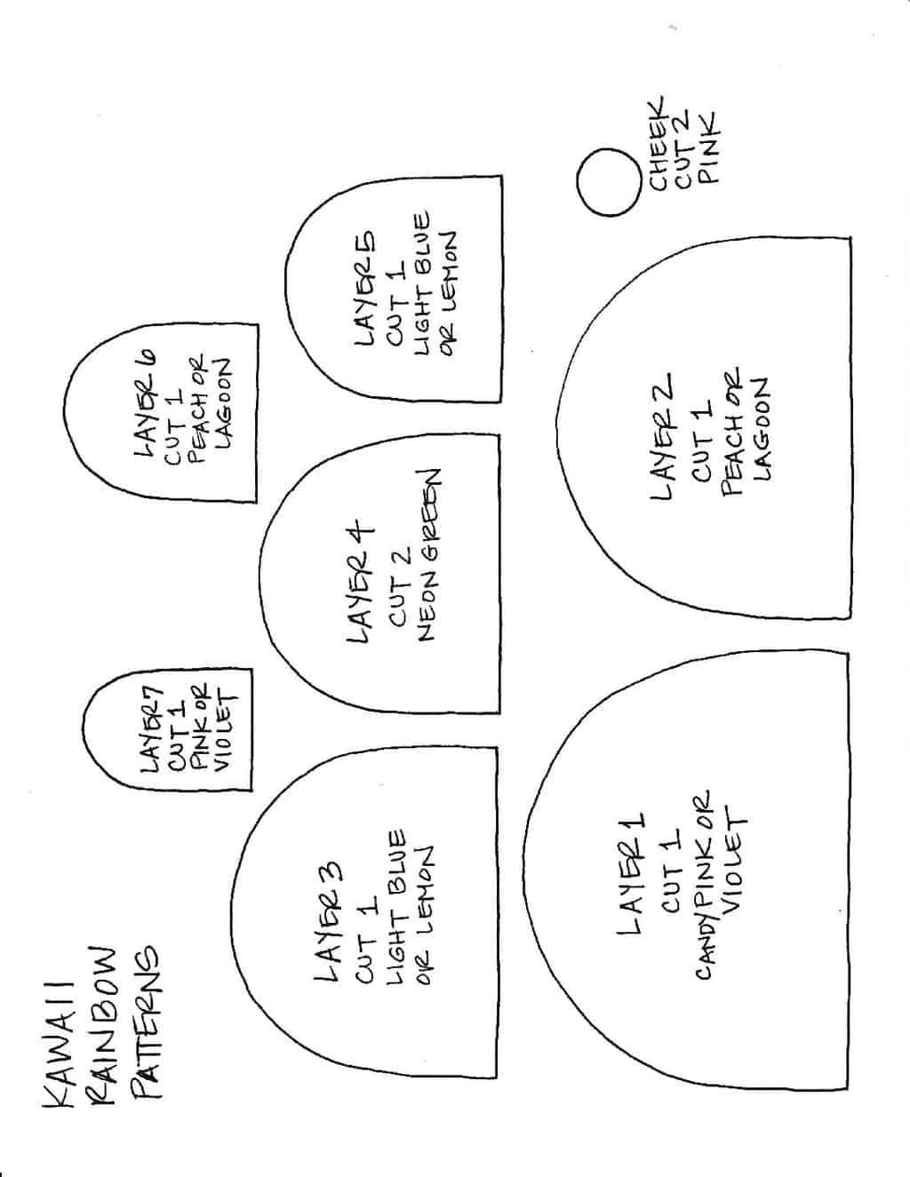 printable rainbow template for kawaii rainbow felt craft