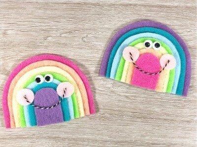 kawaii rainbow felt crafts on a table